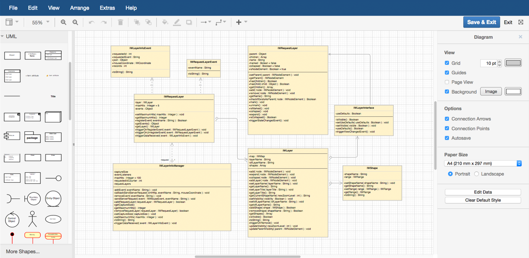 Create a UML Diagram in draw.io