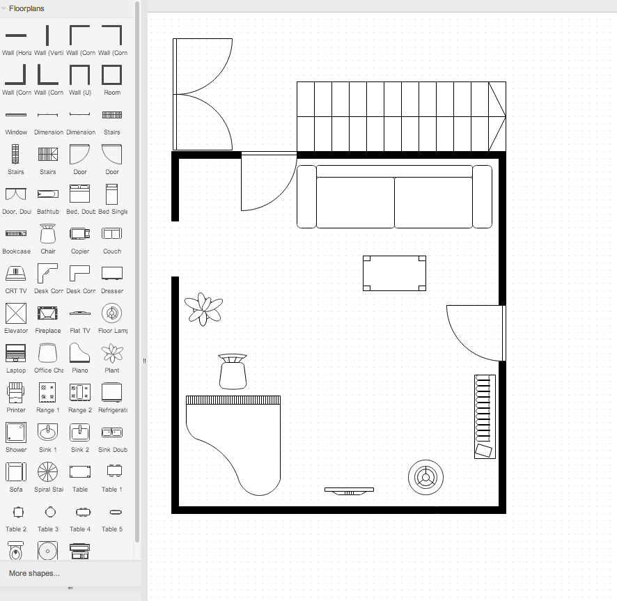 Draw floorplan stencils draw example floorplan in draw malvernweather Image collections
