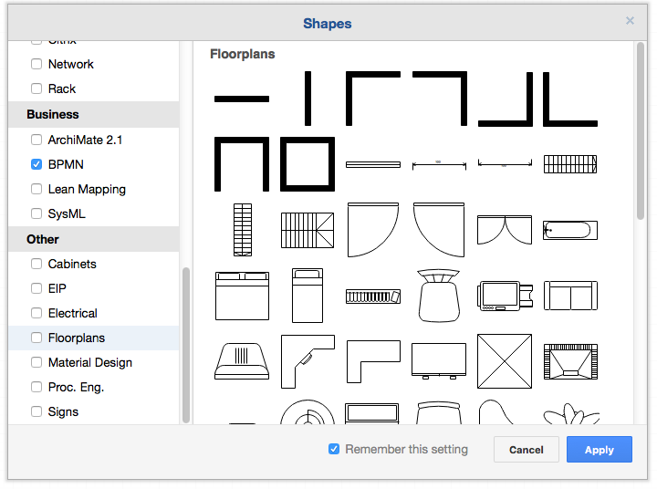 The floorplan library in the more shapes dialog in draw.io