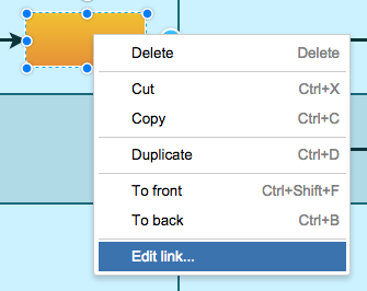 Edit link menu option in draw.io for Confluence