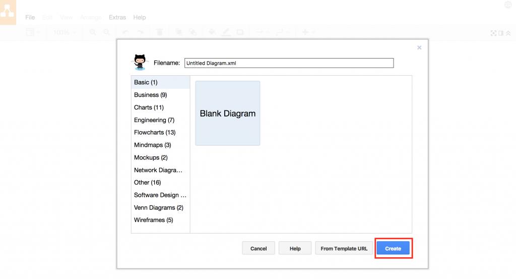 draw.io和GitHub-创建新的空白图表