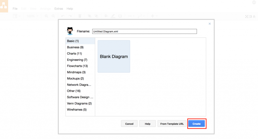 draw.io and GitHub - Create new blank diagram