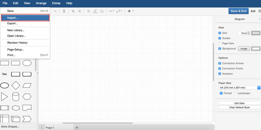 draw.io - import file