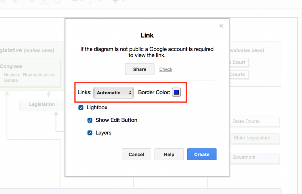 draw.io Publish Link dialog