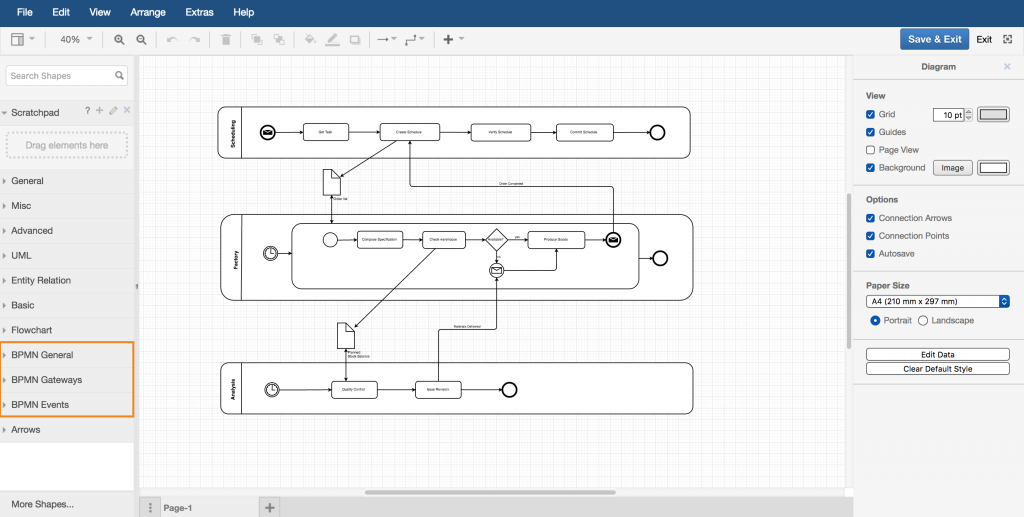 drawio - BPMN swimlane diagram and shape library