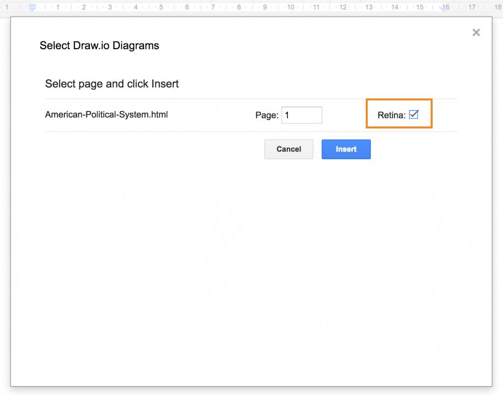 Insert high quality draw.io diagram in Google Docs