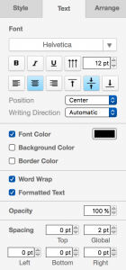 draw.io - Text tab in the format panel