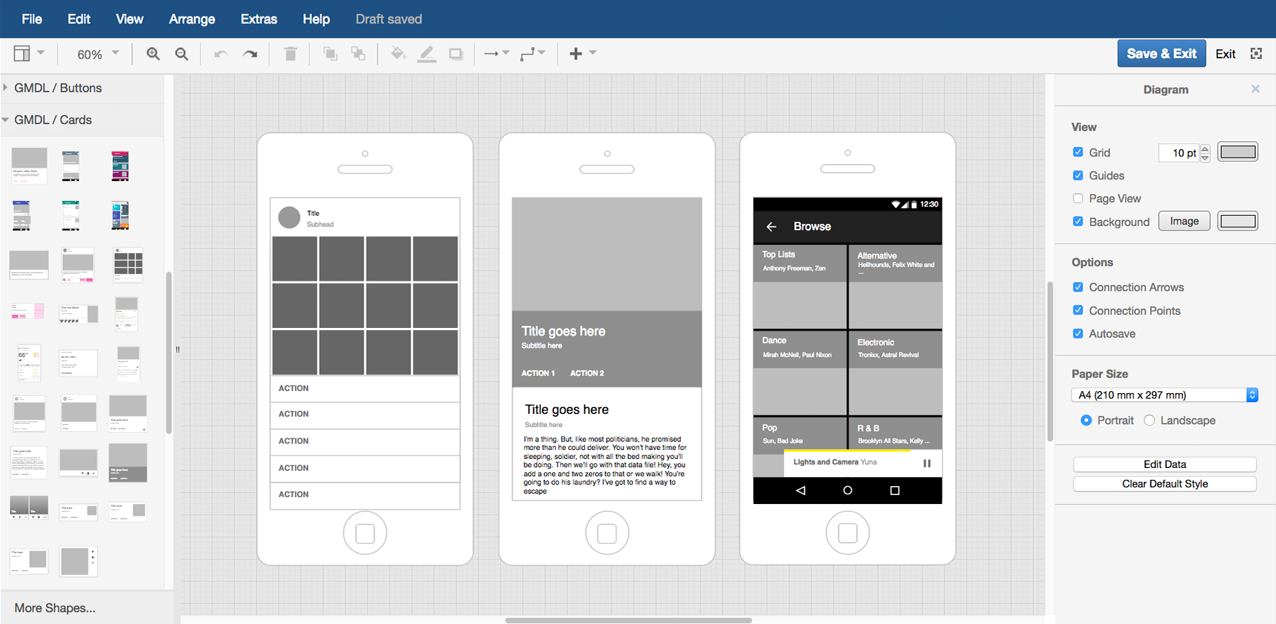 Create a material design digram in draw.io