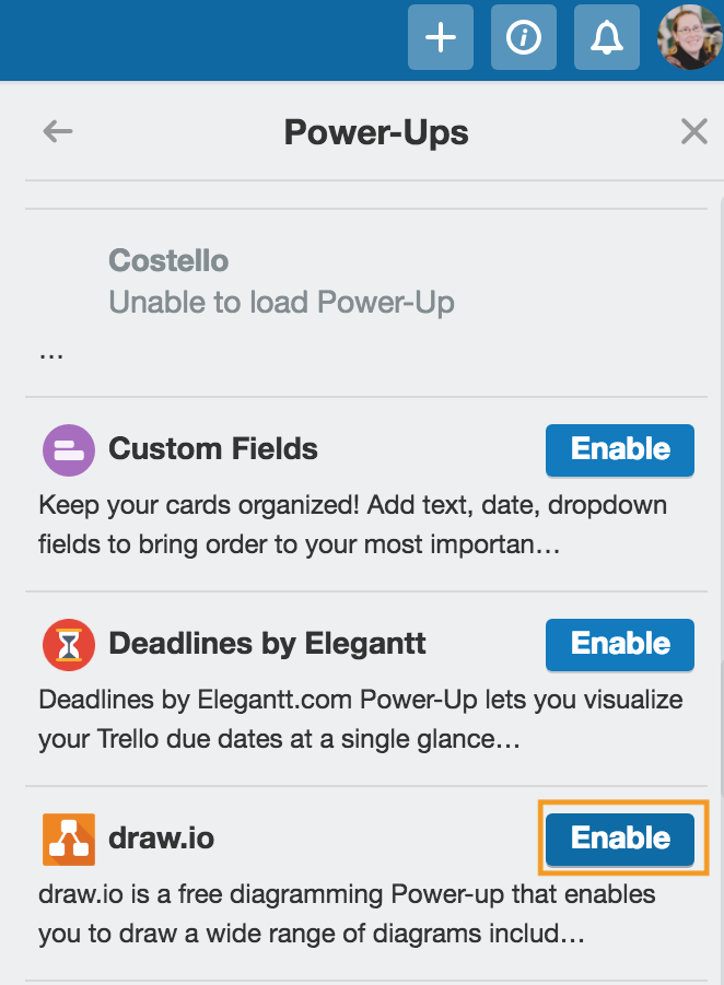 Enable the draw.io Power-Up in Trello