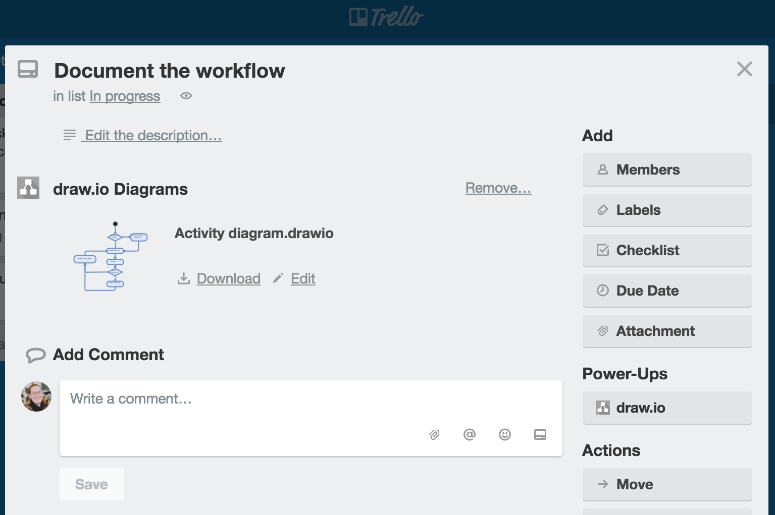 draw.io diagram within a Trello card
