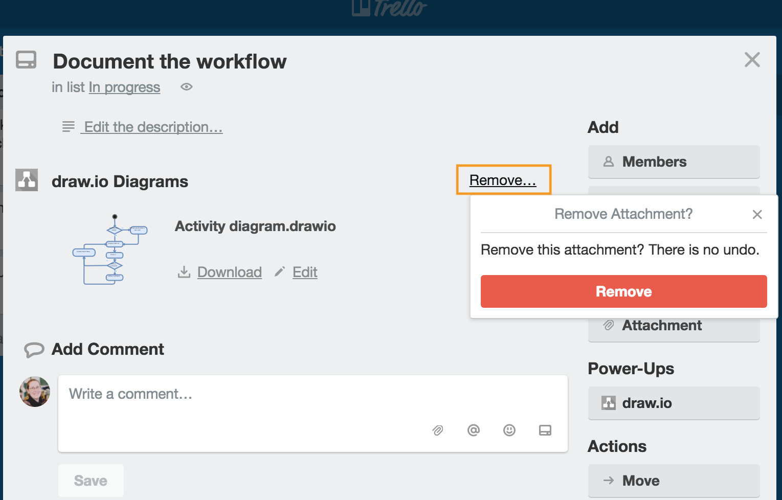 Remove a draw.io diagram from a Trello card