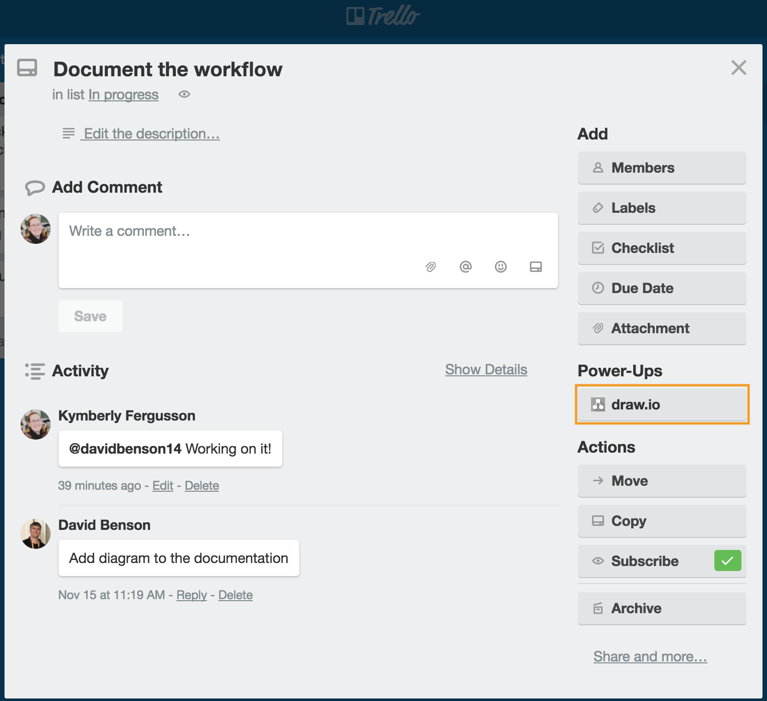 draw.io - add a diagram to a Trello card