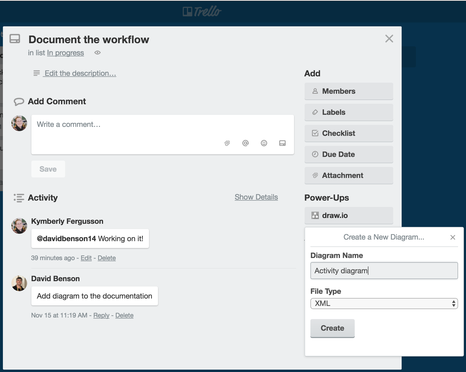 draw io is now available as a trello power
