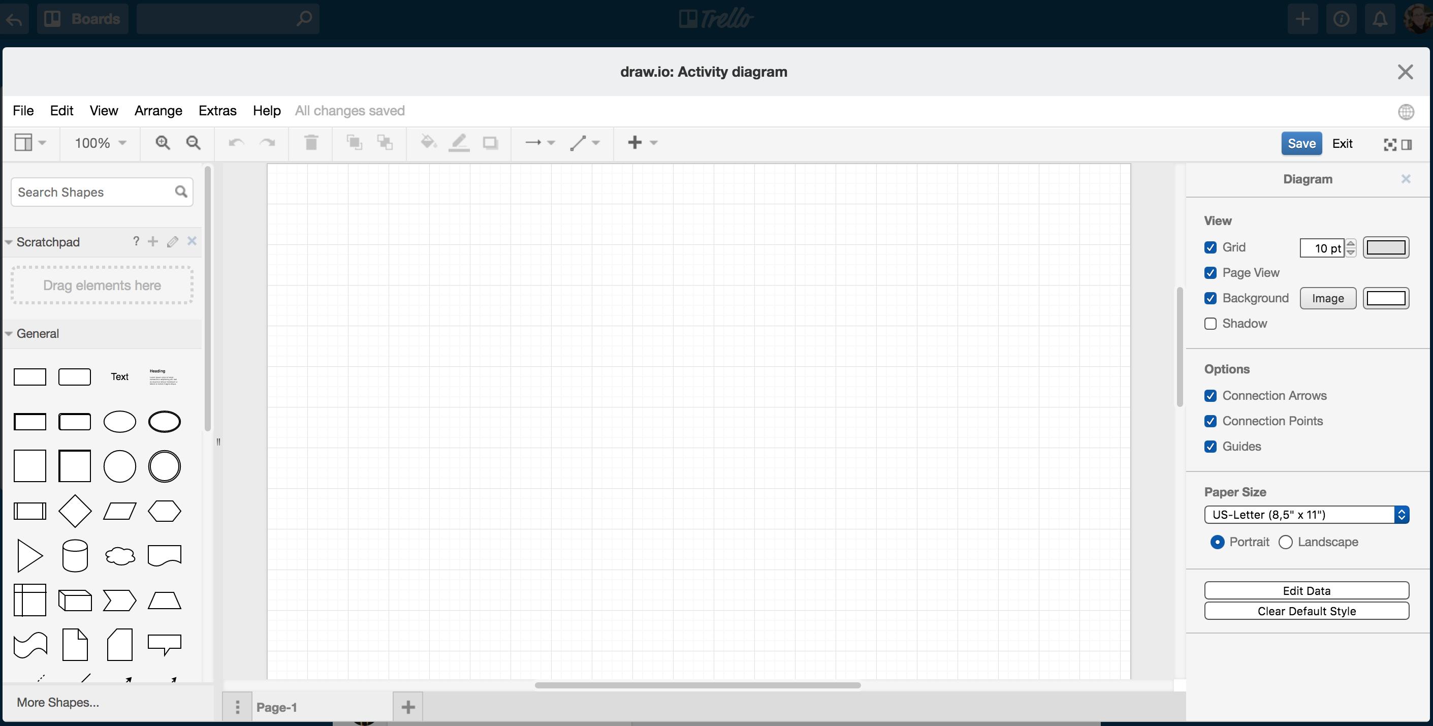 draw.io in Trello - start diagramming