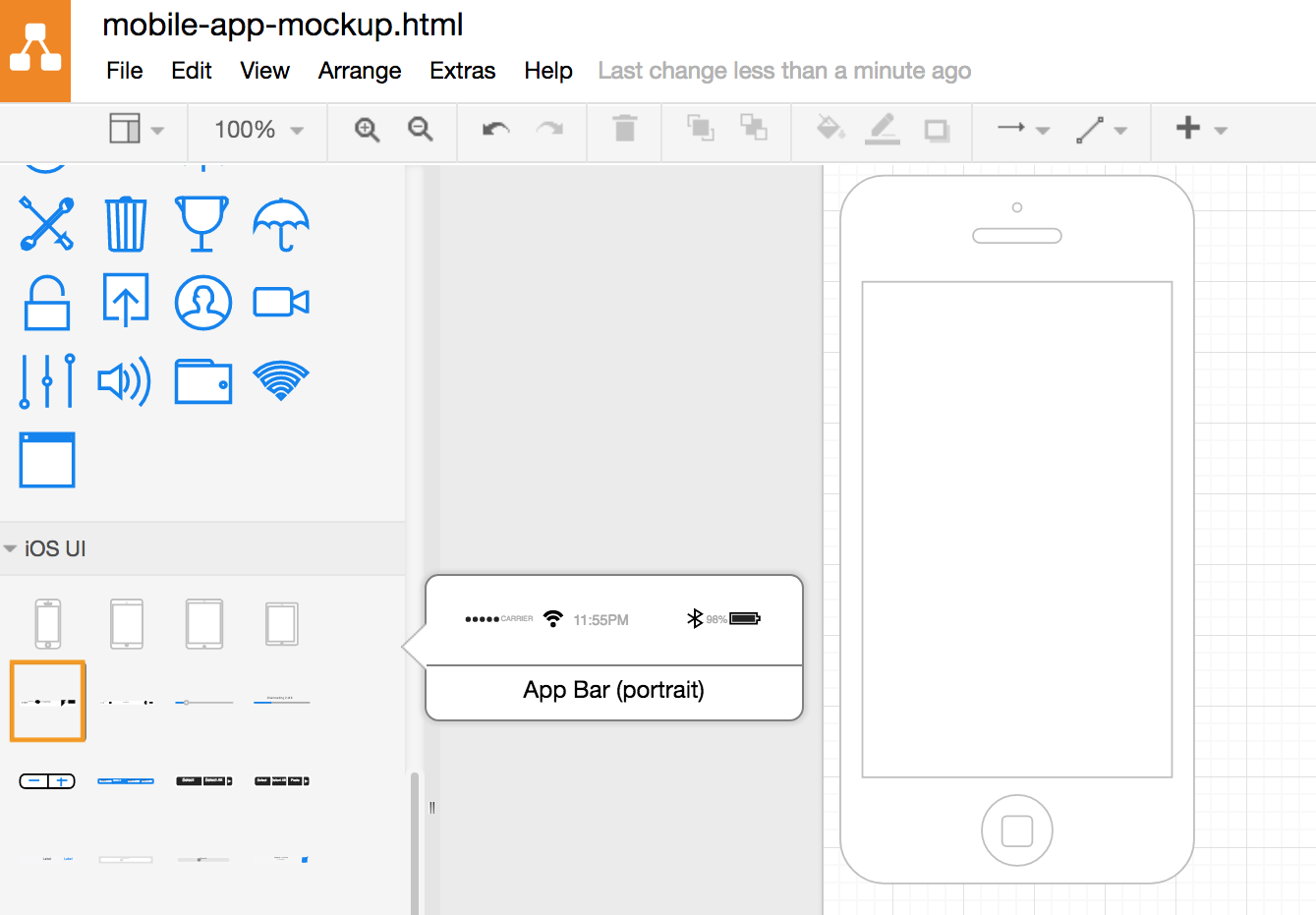 draw.io - add the app bar to the iPhone outline