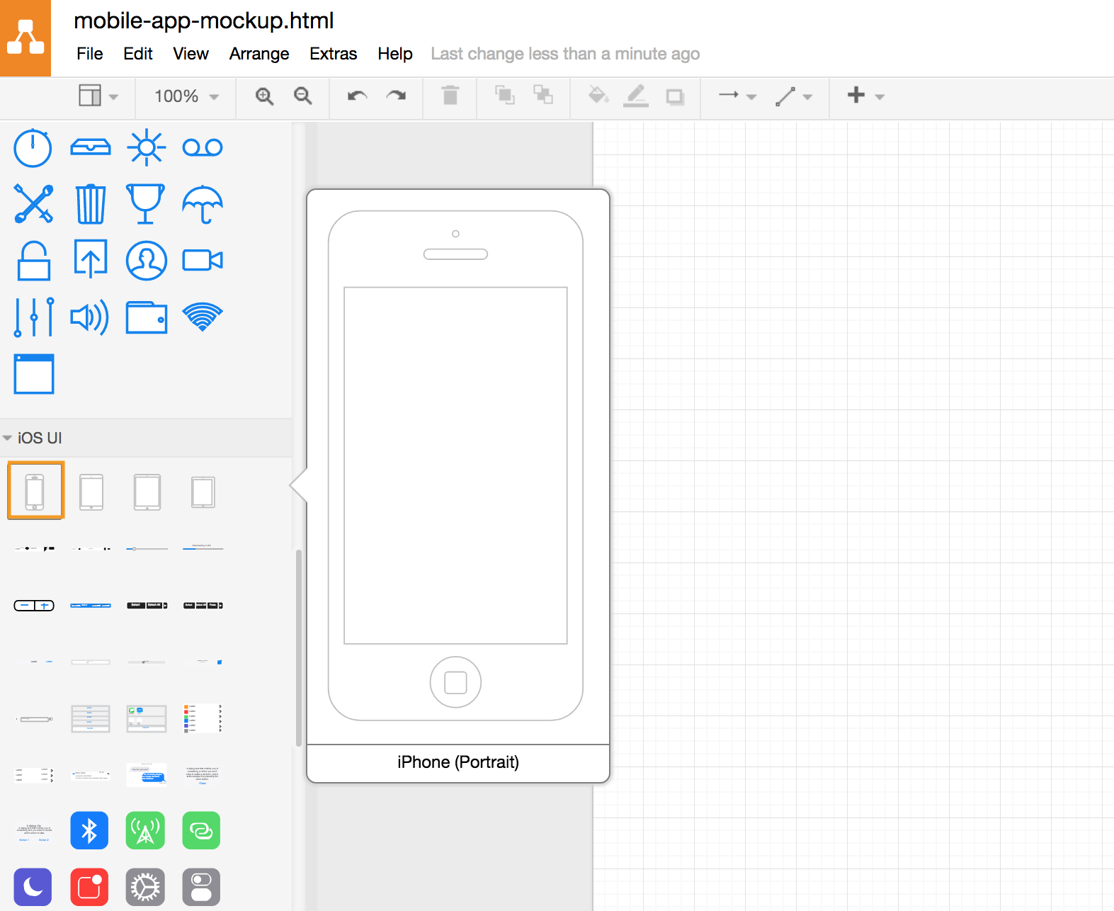 draw.io - insert an iPhone outline
