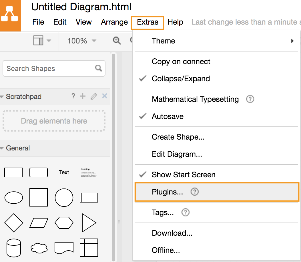 draw.io - add a plugin via the menu