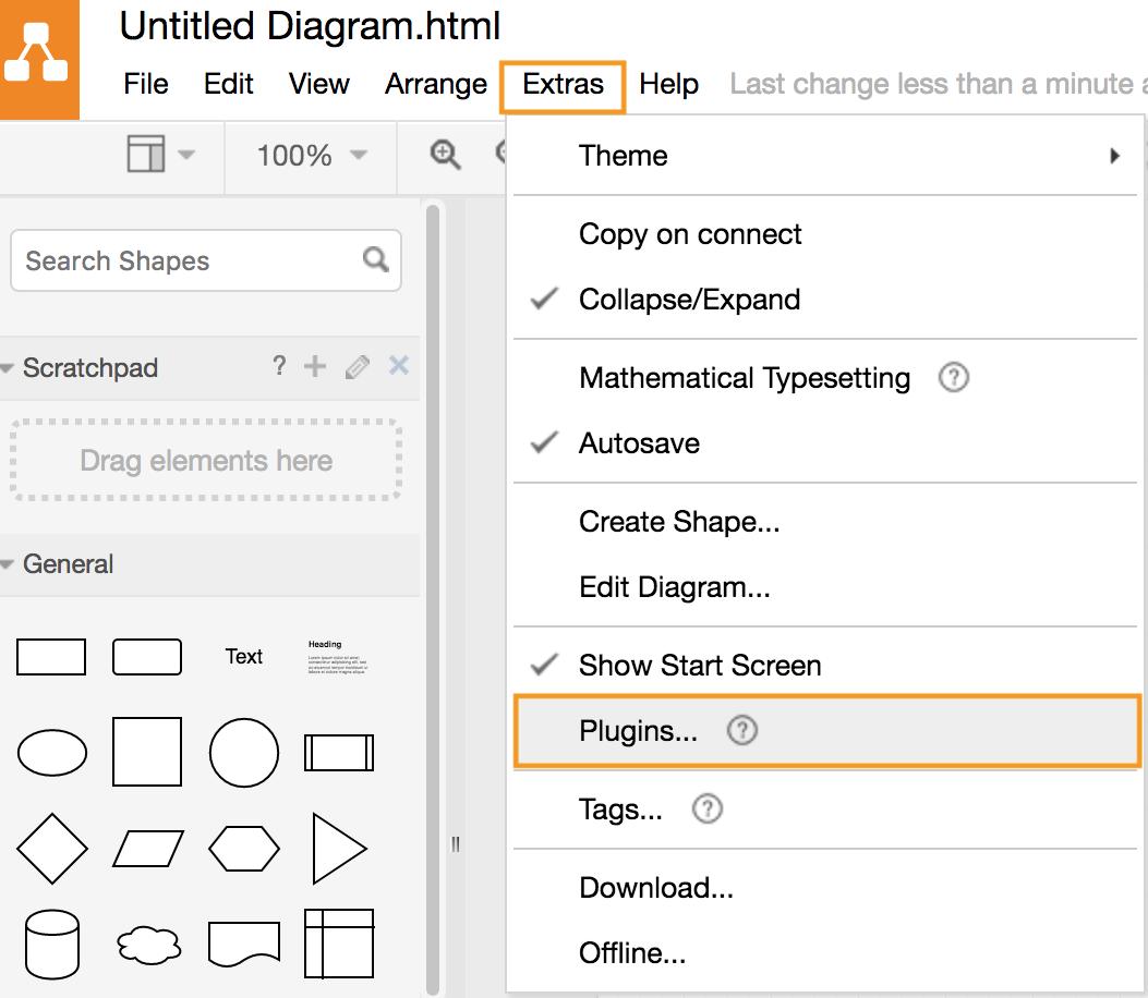 draw.io - add a plugin via the menu