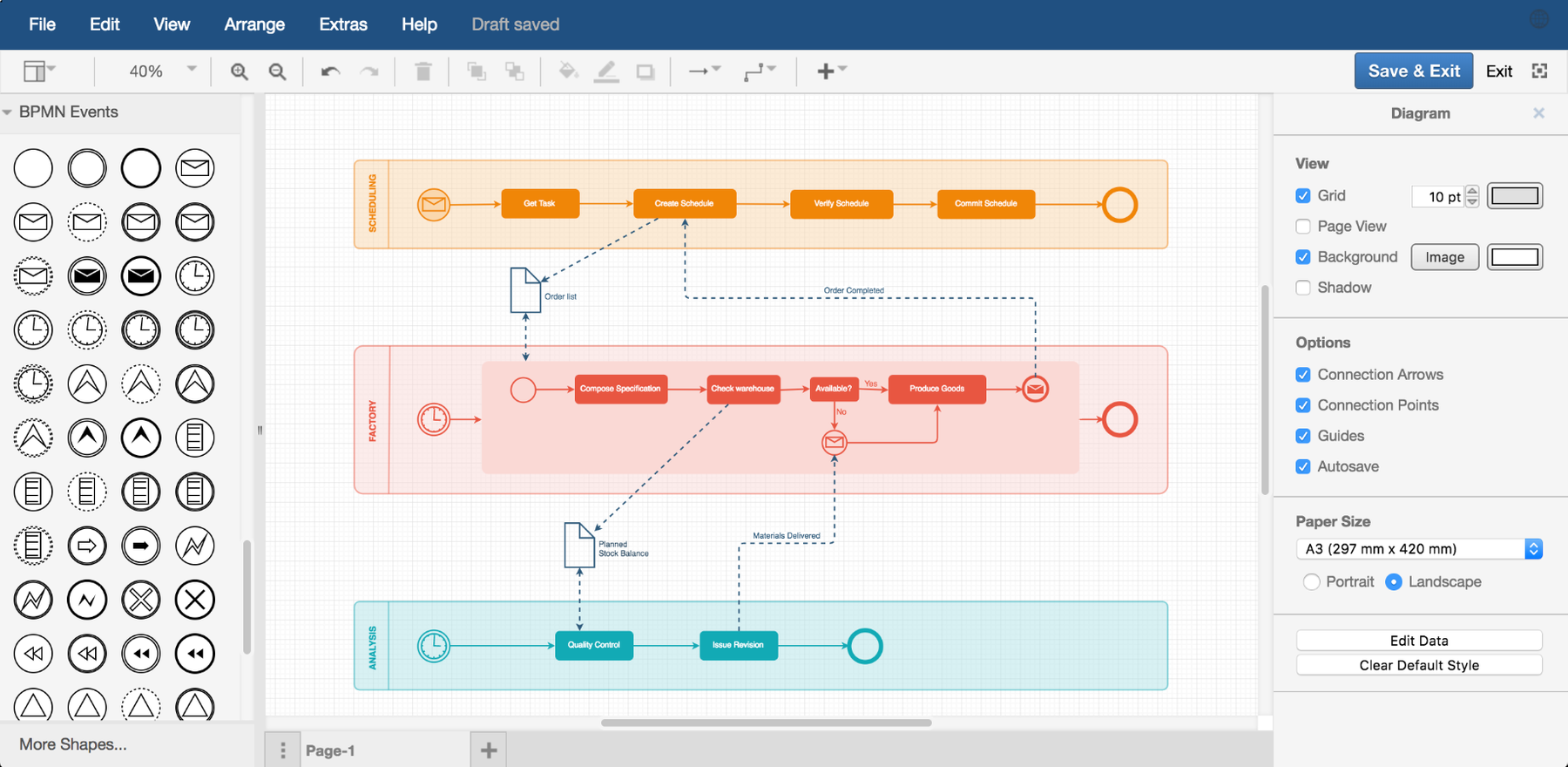 Create a bpmn diagram in draw.io