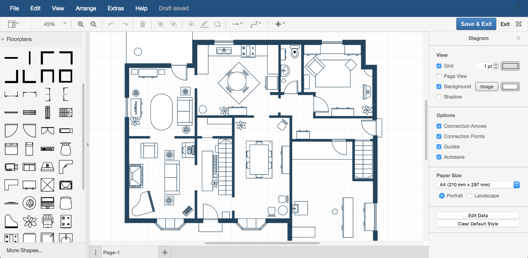 Examples Drawio Process Flow Diagram Using Autocad Floor Plan