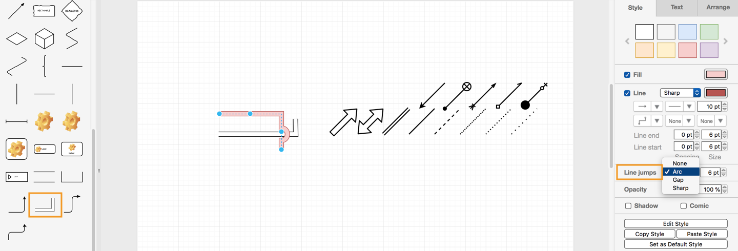 Connector styles and animations in draw io – draw io