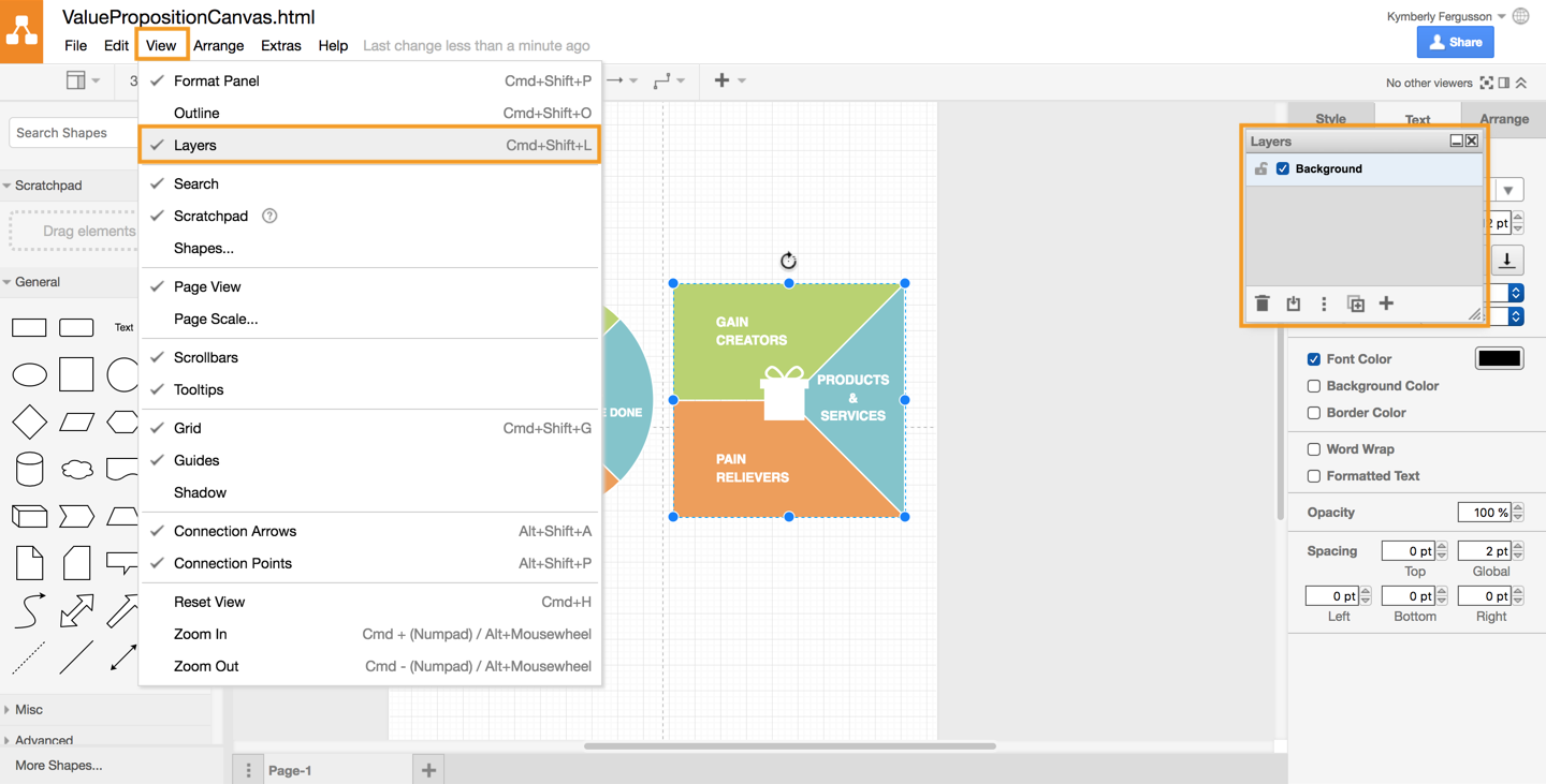 Create A Value Proposition Canvas With Drawio Draw The Other Parts Of Diagram And Then Click On 1 View Layers Panel