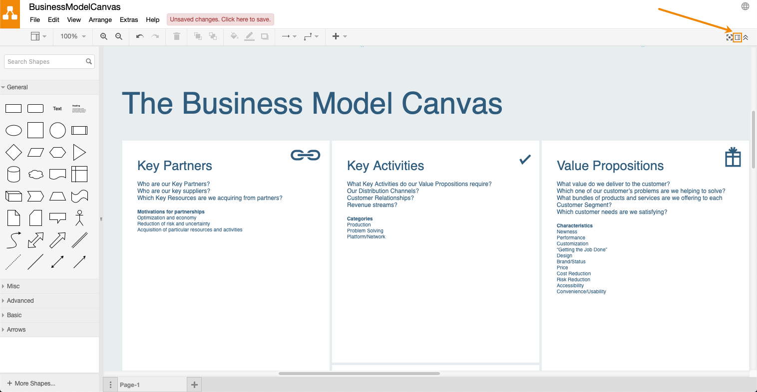 Using the Business Model Canvas template in draw io – draw io