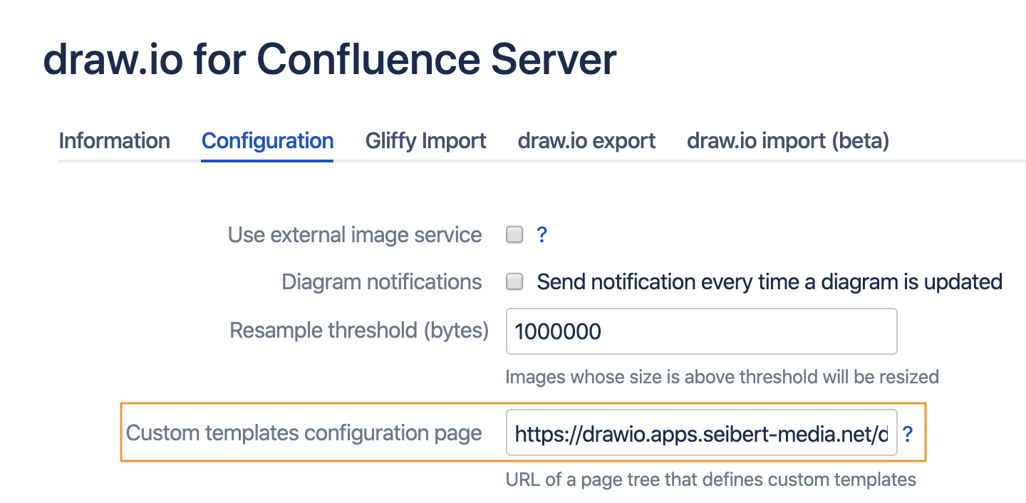 Set the Confluence target URL as the draw.io custom templates configuration page