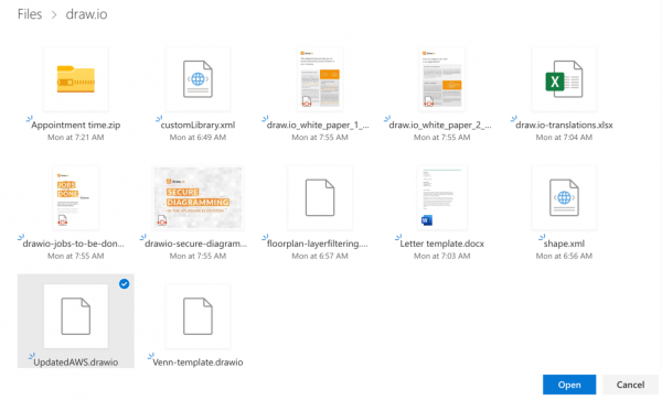 Select a file in the One Drive picker to embed it using the Diagram Viewer app for Jira