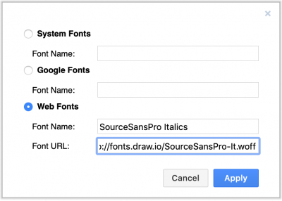Use a custom web font in draw.io