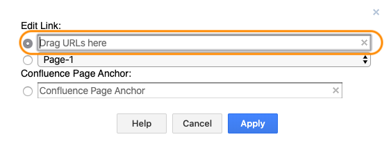 Link shapes to internal or external URLs in Confluence Cloud
