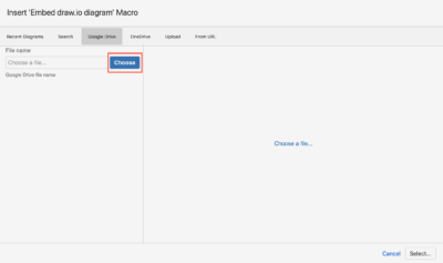 Choose a diagram to embed from Google Drive
