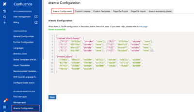 JSON for custom colours in draw.io for Confluence Cloud