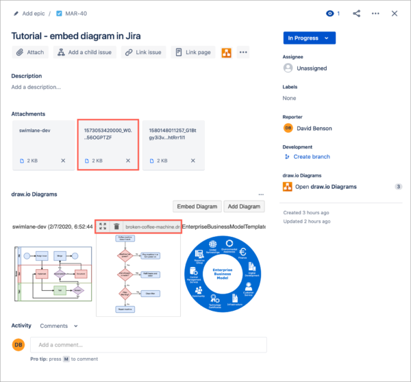 You can't edit a draw.io diagram embedded from Google Drive or OneDrive from within Jira Cloud