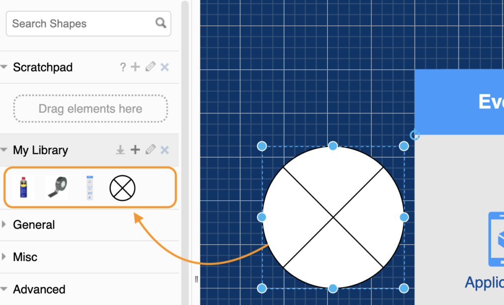 Add custom shapes to your draw.io library