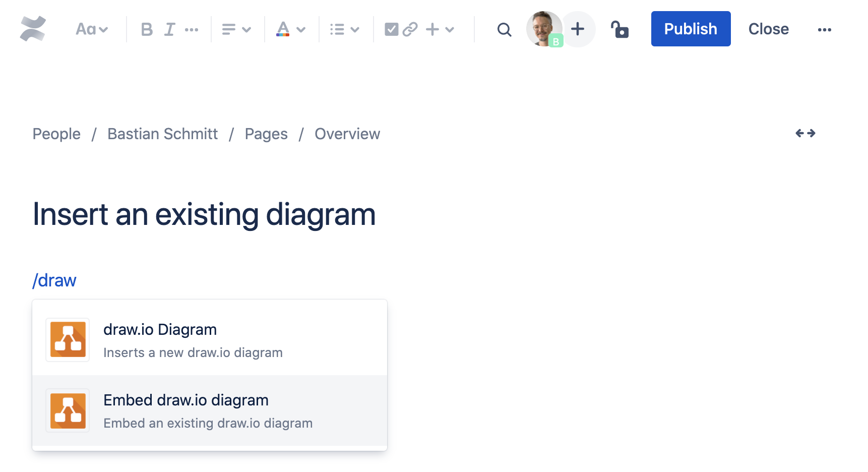 Add an existing diagram to your Confluence Cloud page