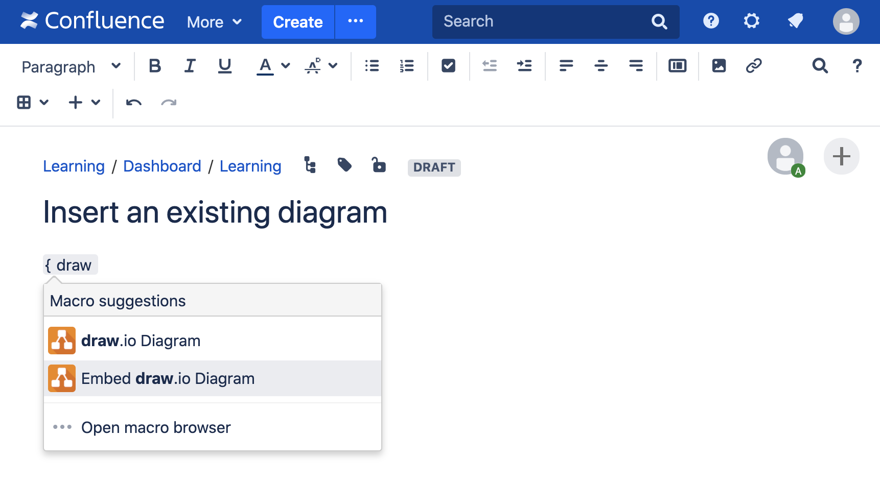 Add an existing diagram to your Confluence Server page