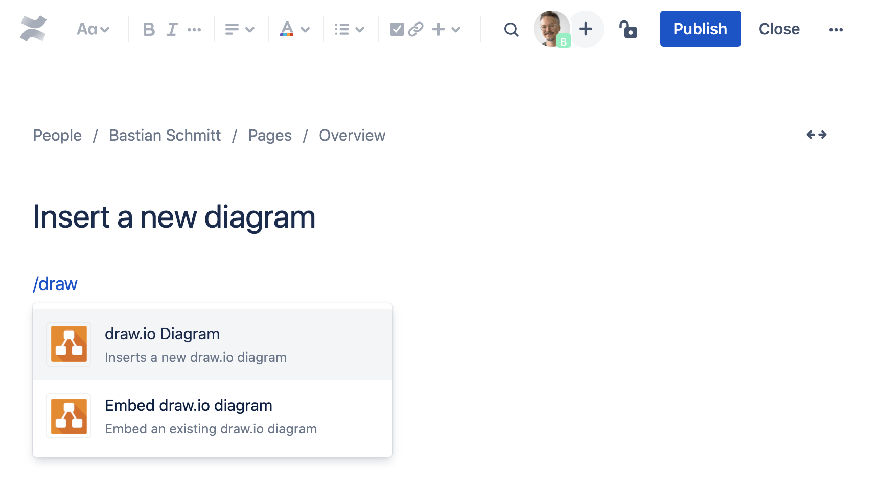 Add a new diagram to your Confluence Cloud page
