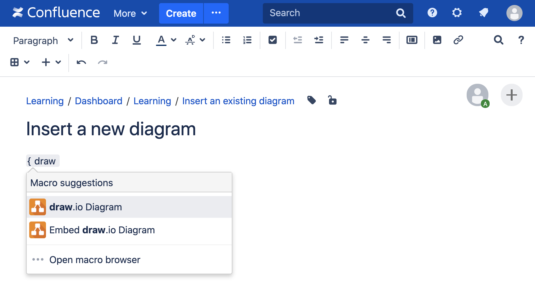 Add a new draw.io diagram to your Confluence Server page