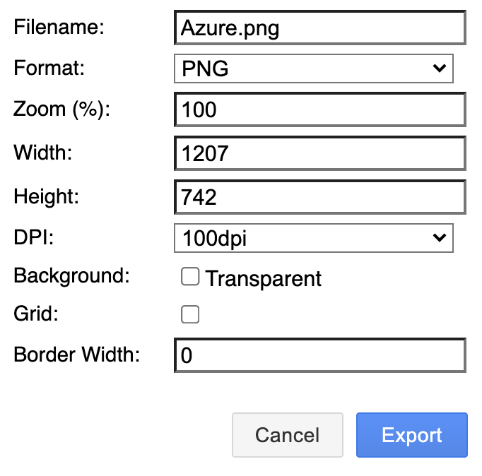 Advanced exporting options in draw.io