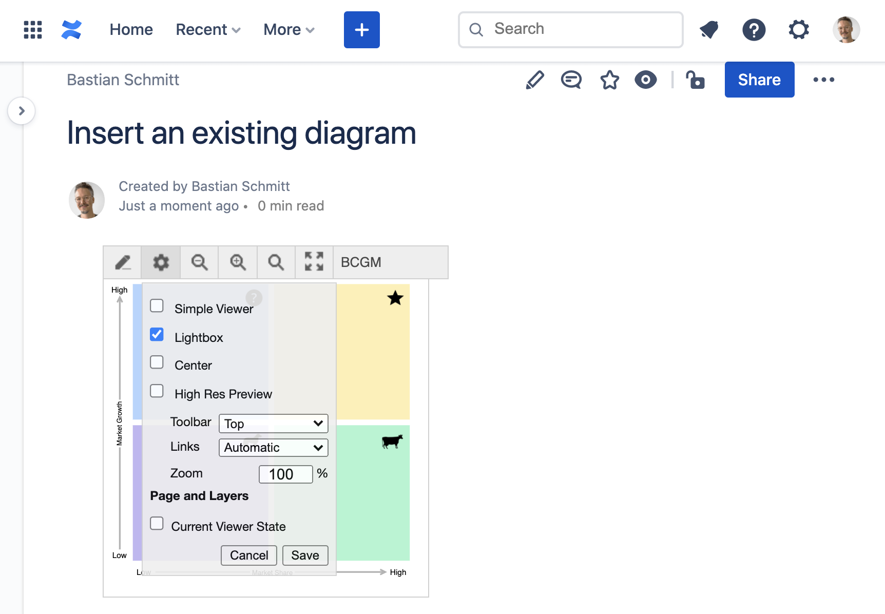 Change diagram settings in Confluence Cloud view mode