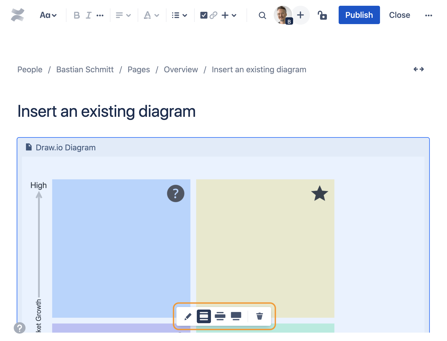 Change diagram settings in Confluence Cloud edit mode