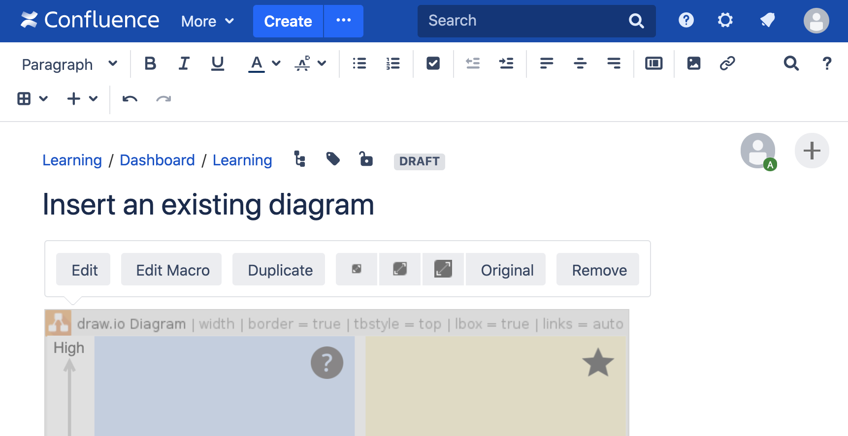 CHange diagram settings in Confluence Server edit mode