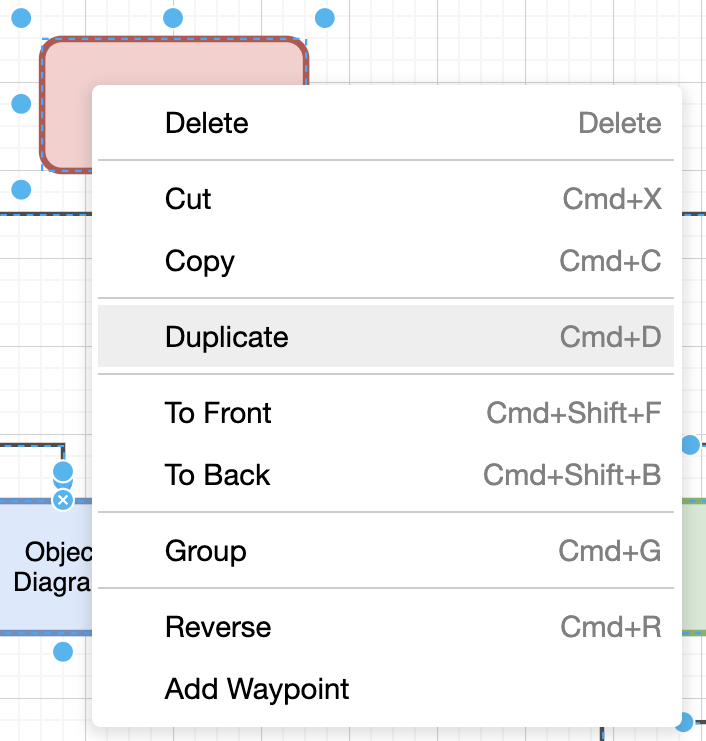 Duplicate shapes in draw.io
